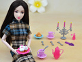 12 Pcs/lot Accessories , Mini Tableware Cup Cake Candlestick Spoon For 1/6 Barbie Kurhn Kelly Doll Gift New 2016 Toys for Girls