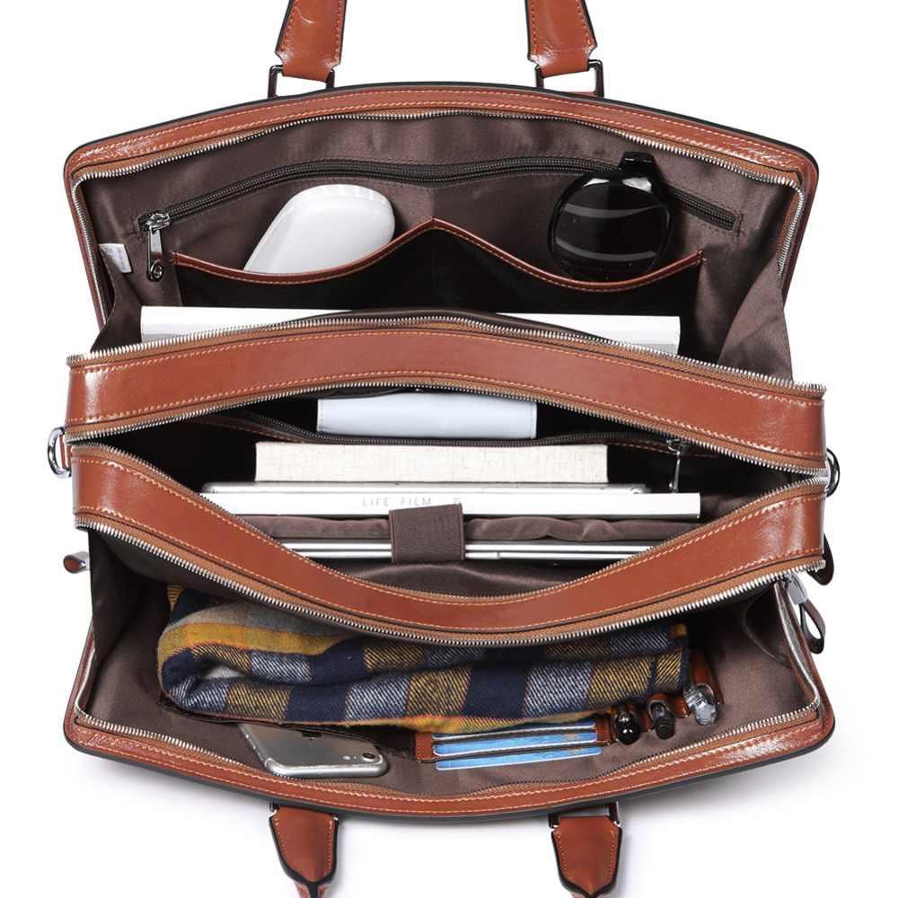 7e29cd7a269a BOSTANTEN Genuine Leather Briefcase Shoulder 15.6