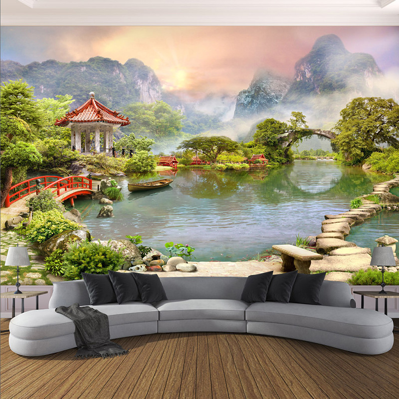 Custom Any Size 3D Mural Wallpaper Modern Garden Landscape Photo Wall Painting Living Room Bedroom Theme Hotel Backdrop Wall 3 D