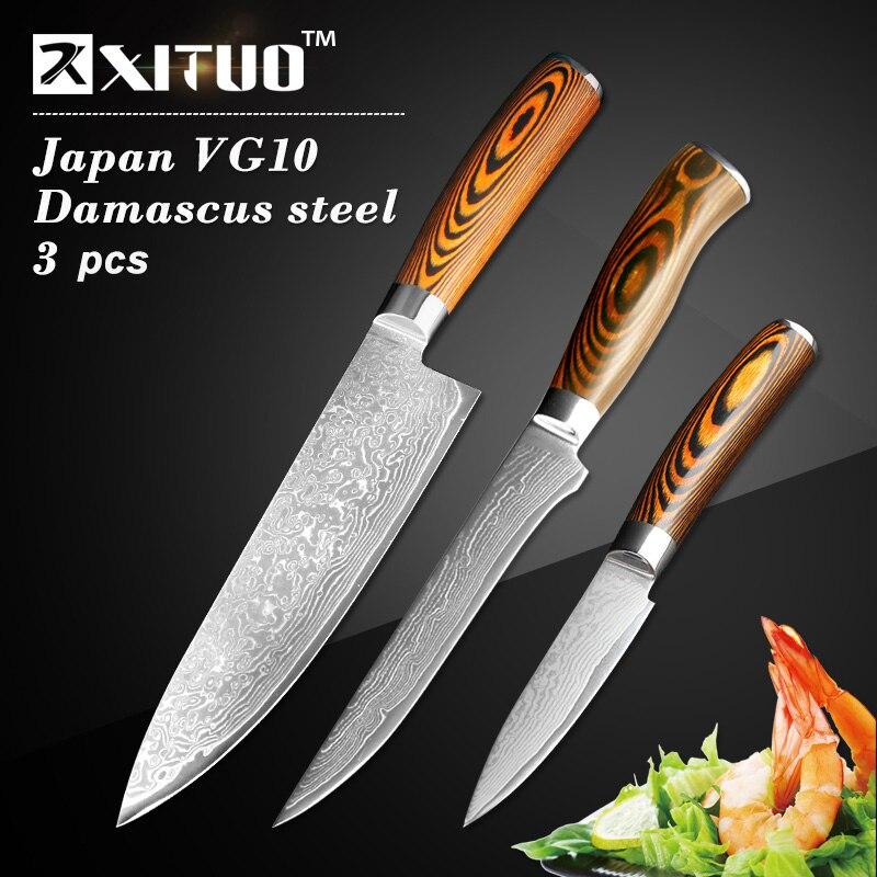 XITUO 3 pcs kitchen knives <font><b>set</b></font> Japanese Damascus steel kitchen knife VG10 chef boning Paring Santoku utility knives wood handle