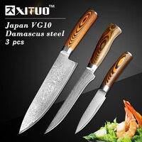 XITUO 3 unids chef cuchillos de cocina set Japonés VG10 Damasco cuchillo de cocina de acero deshuesado Cuchillo Santoku cuchillos mango de madera