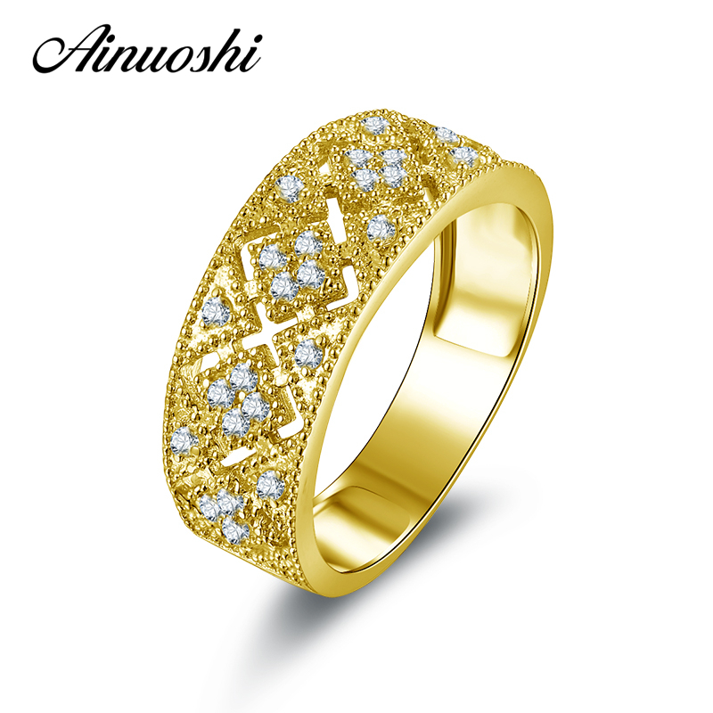 AINUOSHI 10k Solid Yellow Gold Engagement Ring Wide Hollow Lady Anniversary Gift Simulated Diamond Rings for Women Customized punk style solid color hollow out ring for women