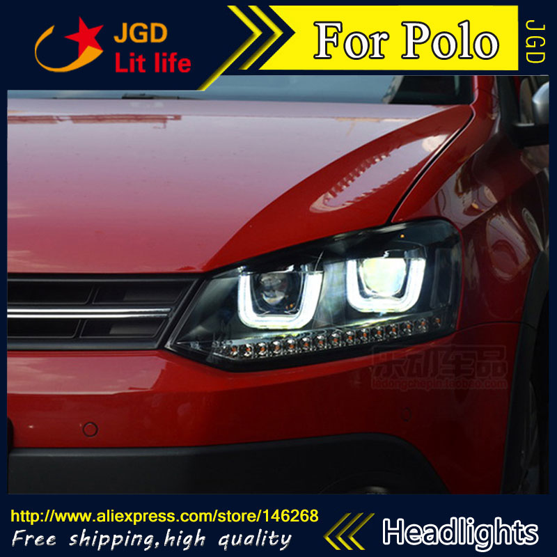 Free shipping ! Car styling LED HID Rio LED headlights Head Lamp case for VW Polo 2009-2015 Bi-Xenon Lens low beam