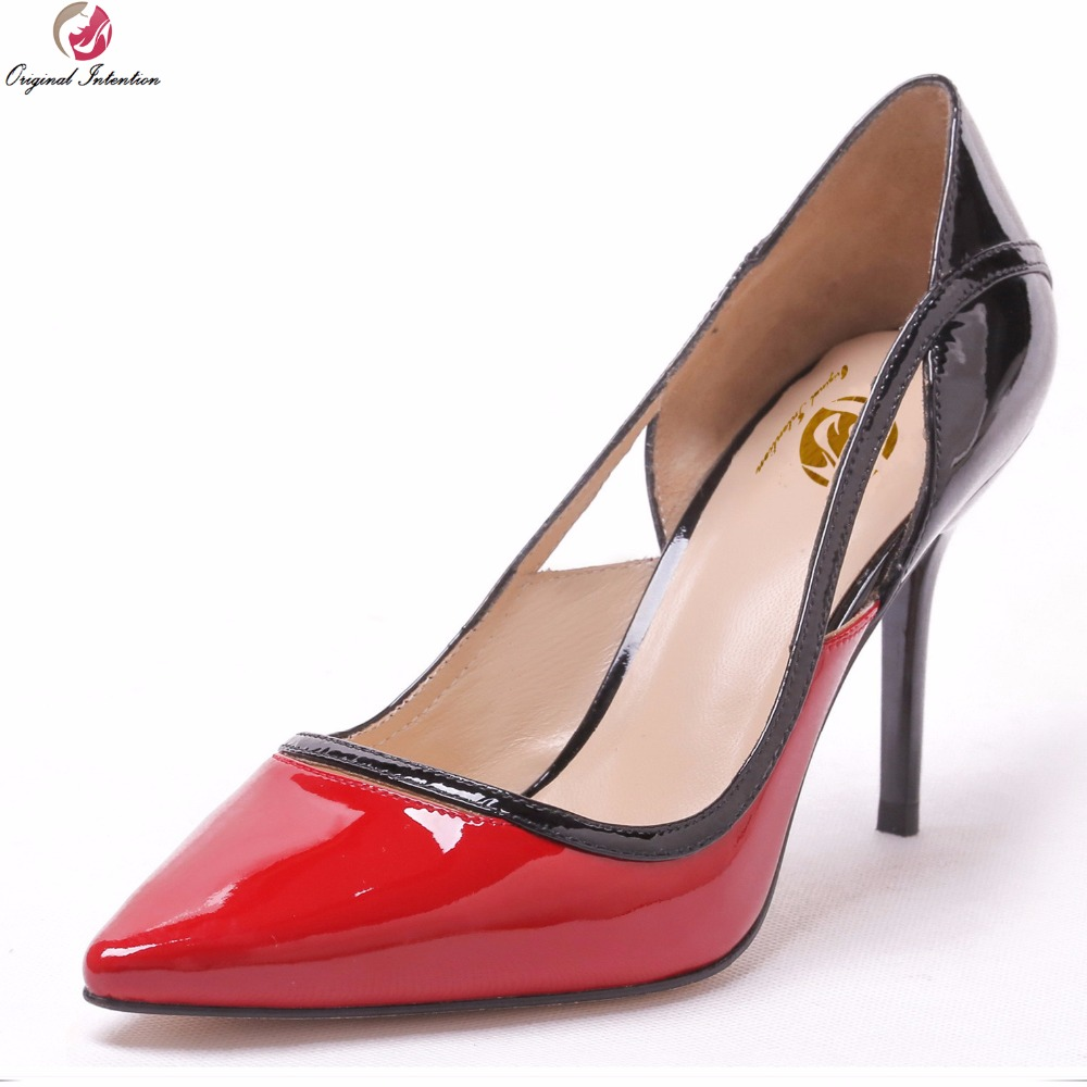 Original Intention Gorgeous Women Pumps Sexy Pointed Toe Thin High Heels Pumps Nice Pink Red Shoes Woman Plus US Size 3-10.5 платье