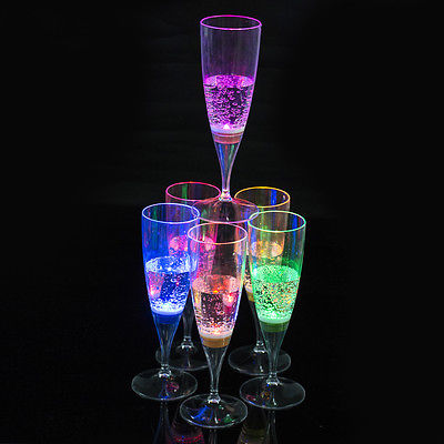 <font><b>LED</b></font> Champagne Flute Wine Goblet Light-Up Set- Spa/Hot Tub Accessories image