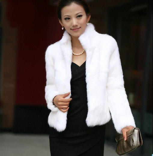 Real leather 100% Natural rabbit fur coat lady girls coat 2012 hot sale CHINA post free shipping