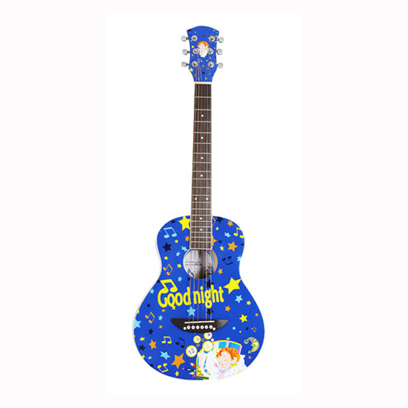 <font><b>Guitar</b></font> <font><b>36</b></font> Inches Customization of Cartoon Design Semi-closed Knob Beginner Unisex image