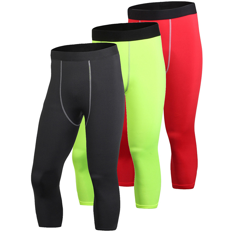 YEL 3PCS Gym 3/4 Leggings Pants Compression Tights Quick Dry Leggings Hombre Fitness Trousers Sweat Bodybuilding Running Pants