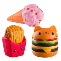 Random 3pcs Kawaii Jumbo hamburger&fries set Squishy Slow Rising Sweet Scented Vent Charms Kid Toy Hand Toy, Stress Relief Toy