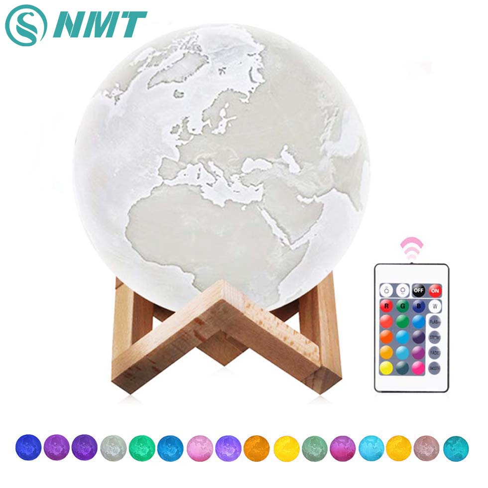 3D Print LED Earth Lamp Color Changing LED Night Light Rechargeable Moon Lamp Home Decoration for Children Kids Creative Gift