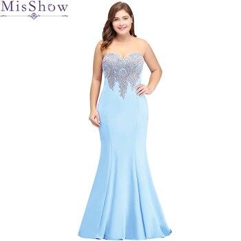 9f326d9cae Vestido de dama de honor barato talla grande apliques sirena vestidos de  graduación vestido Formal vestidos de fiesta de boda elegantes largos  vestidos de ...