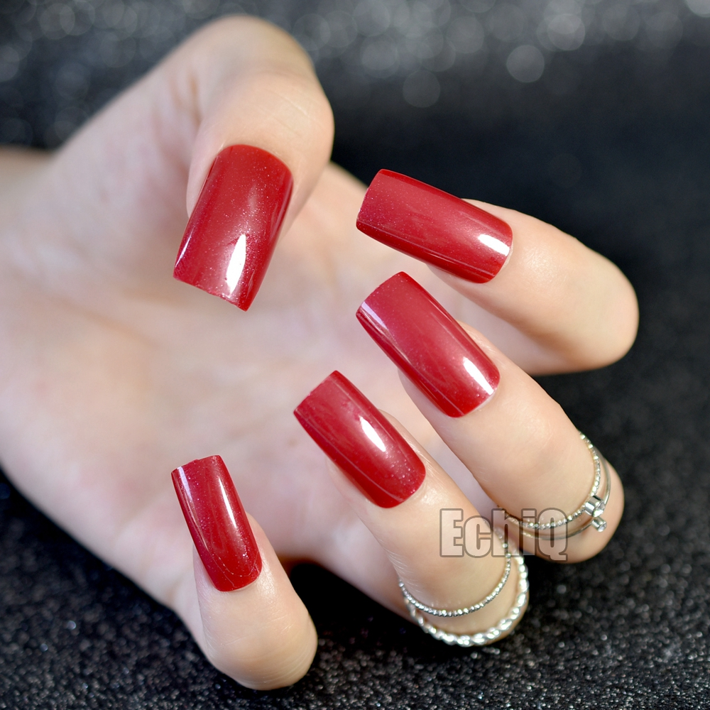 20pcs UV Finished Acrylic Nails Extra Long Flat Dark Red False Nail ...