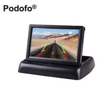 Podofo 4.3 «HD складной вид сзади автомобиля Мониторы ЖК-дисплей TFT Экран дисплея 2 способ видео Вход для грузовик Реверсивный резервное копирование Камера