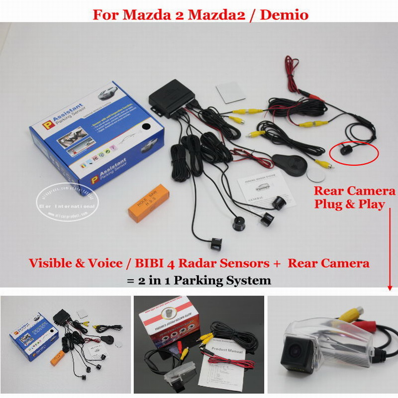 Liislee Car Parking Sensors + Rear View Back Up Camera = 2 in 1 / For Mazda 2 Mazda2 / Demio / BIBI Alarm Parking SystemLiislee Car Parking Sensors + Rear View Back Up Camera = 2 in 1 / For Mazda 2 Mazda2 / Demio / BIBI Alarm Parking System