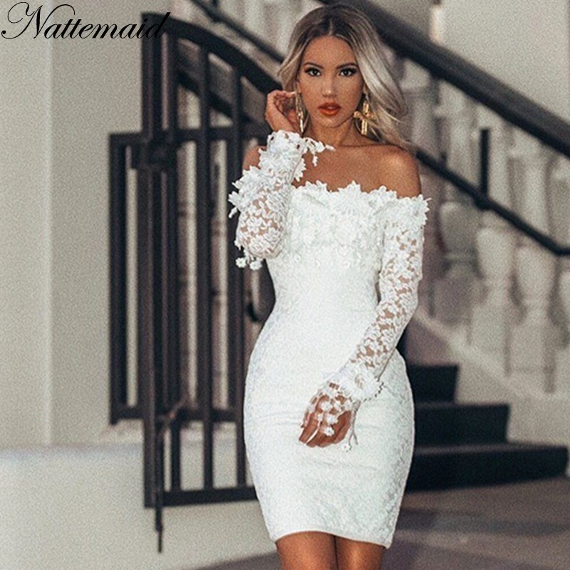 a5c18f3b09c67 US $19.17 40% OFF|NATTEMAID Hollow Out Floral White Lace Dresses Off  Shoulder Strapless Mini Sexy Dress Women Pencil Bodycon Party Dress  Vestidos-in ...