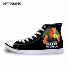 INSTANTARTS 3D Men Canvas Shoes Cartoon Hello Neighbor Printed Classic High Top Vulcanize Shoes Boys Fashion Sneakers Teenagers