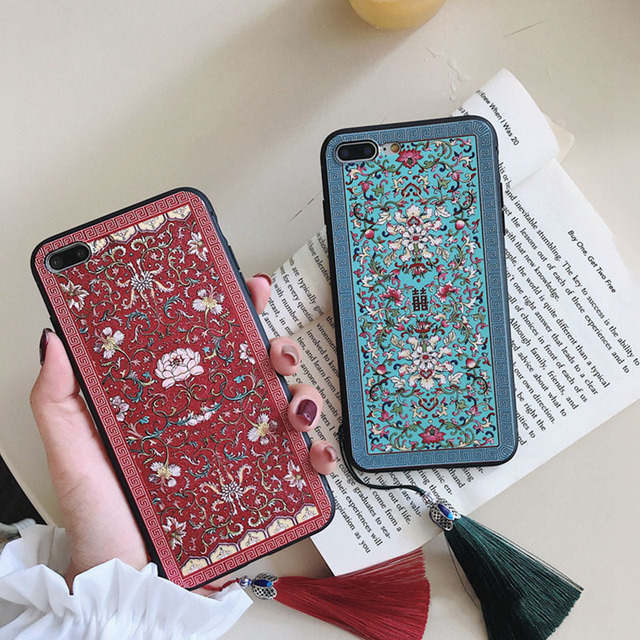9aaa5eb2f Retro Chinese style Phone Case For iphone 6 6s 7 8 plus Case For iphone X  Cover Luxury Embossed embroidery Pattern Lovers Cases
