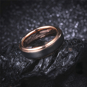 Image 4 - 8mm/6mm/4mm Black & Rose Gold Mens Tungsten Carbide Wedding Band for Boy and Girl Valentine Rings Russian Women Cool Jewelry