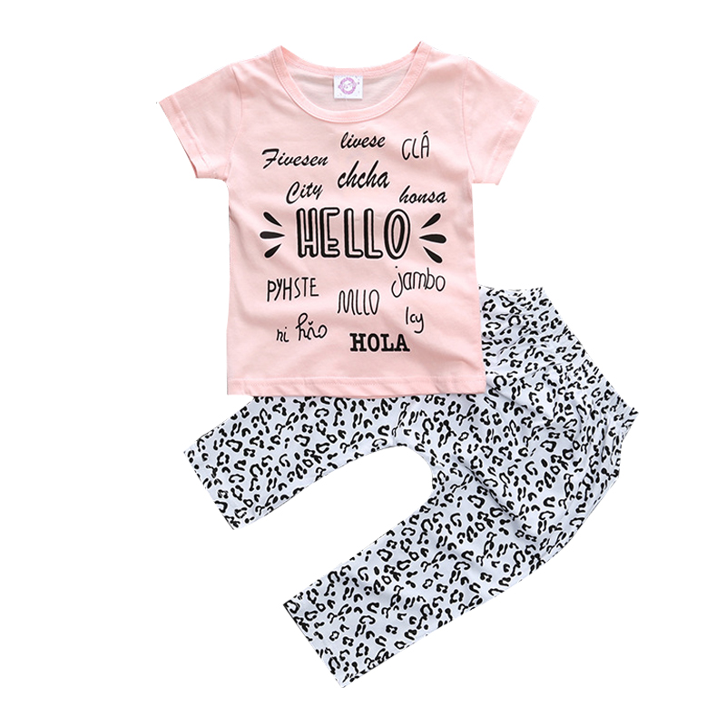 2018 Kids Baby Girls summer clothes set 2pcs suit letter Tops outfits Pink Pant children ...