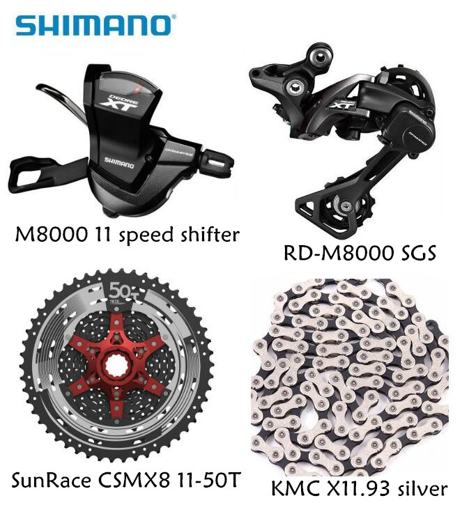 Shimano XT M8000 4pcs bike bicycle mtb 11 speed kit Groupset RD-M8000 Shifter with SunRace cassette K7 KMC chain 11-46T 11-50T shimano xt m8000 left