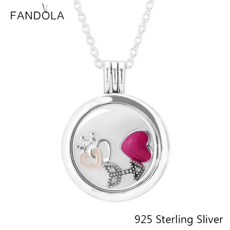 Medium 925 Silver Floating Locket Magenta Heart & Crown & Love Script Petite Pendant Necklace For Fine Jewelry Full of Love Gift dgk script medium silver tie dye short sleeve page 1