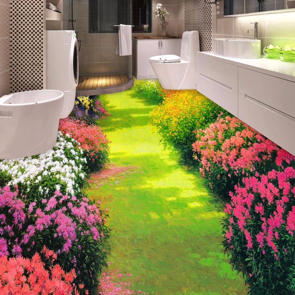 Custom 3d Floor Wallpaper Flowers Road Bathroom Kitchen: Compra 3d Suelo Online Al Por Mayor De China, Mayoristas