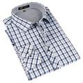 Осень 2016 Весна Классический стиль Плед рубашки для мужчин шелка и хлопчатобумажной ткани с длинным рукавом slim fit, не железо причинной мужская рубашки