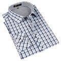 Otoño 2016 Primavera camisa A Cuadros de estilo Clásico para hombre de seda y tela de algodón causal de los hombres de manga larga slim fit no necesita plancha camisas