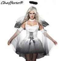 Thiên thần Winged Halloween Costume Trang Phục Sexy Đối Với Phụ Nữ Sexy Zombie Quần Áo Vai Trò Chơi Ma Cô Dâu Trang Phục Miễn Phí Vận Chuyển 50126