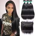 Straight Hair Bundles With Frontal Ably Brazilian Remy Human Hair Weave Pre Plucked Ear To Ear Lace Frontal Closure With Bundles