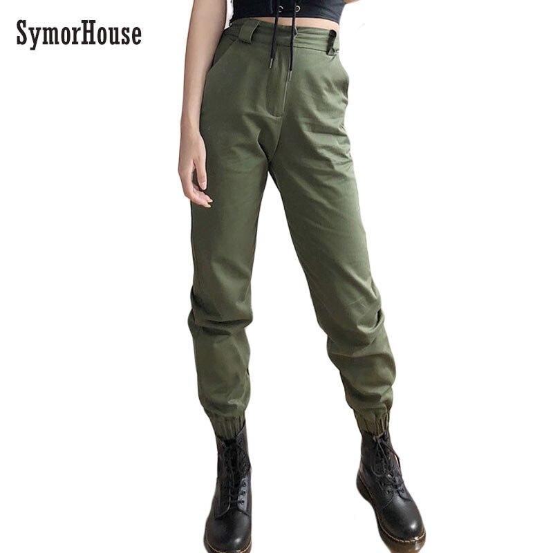 High waist   pants   Casual loose joggers women army Green harem   pants   streetwear punk black cargo   pants   women   capris   trousers
