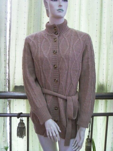 Alpaca Sweaters Women Fashion Camel Sweater Cardigan Long Natural