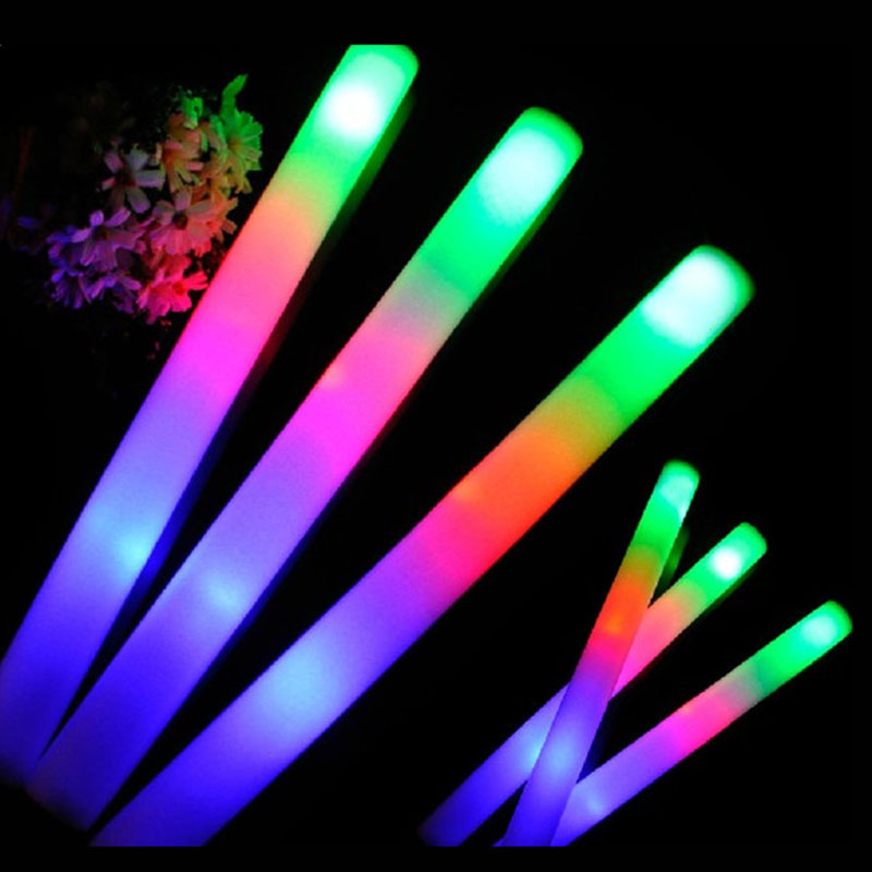 100Pcs/Lot Colorful Foam Stick LED Fluorescent Glow Rally Rave Cheer Tube Soft Glow Stick Baton Wands Party Festival Light Stick