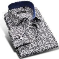 Neuen männer 100% Baumwolle Blumendruck Taste Unten Langarm-shirt Komfort Weiche Kausal Slim fit Hemden männer Kleidung