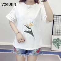 VOGUEIN New Womens Ladies Floral Lace Mix Sleeve Embroidered Tops Shirt T Shirt Tee Size SML