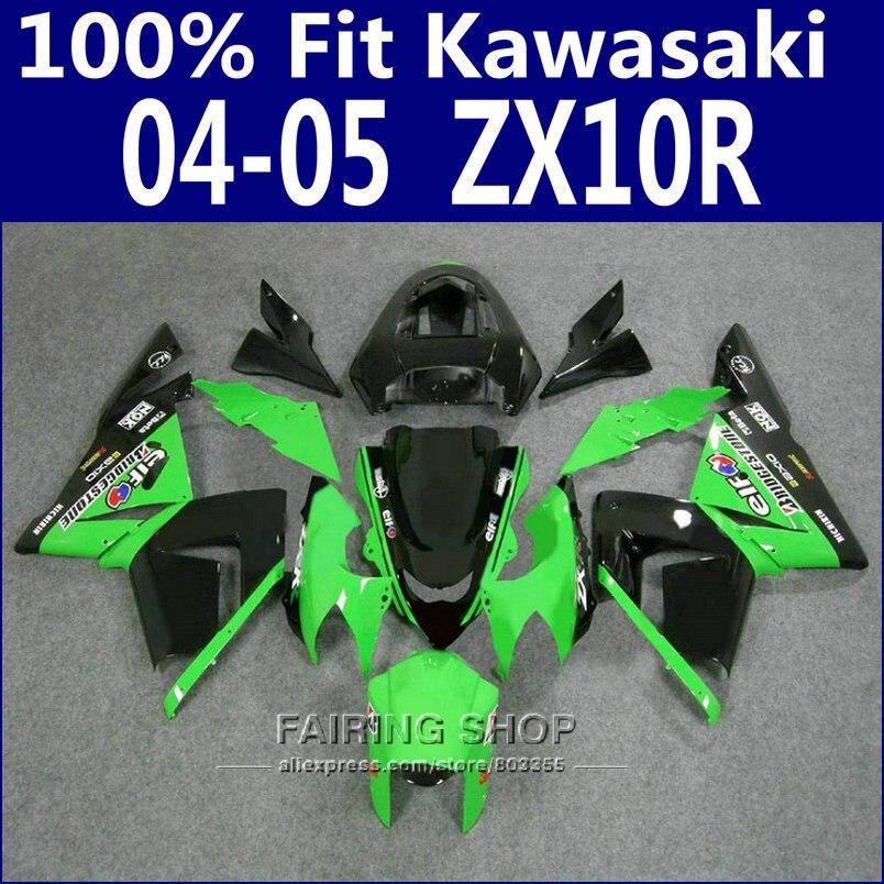100%fit Fairings For Kawasaki Ninja Zx10r zx-10r 2004 2005 04 05 Green black Fairing kit Free custom x13