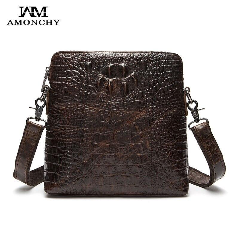 ФОТО AMONCHY Genuine Leather Men Shoulder Bags Natural Leather Man Messenger Bag Crocodile Male Bags Alligator Pattern Bag Bolsas M07