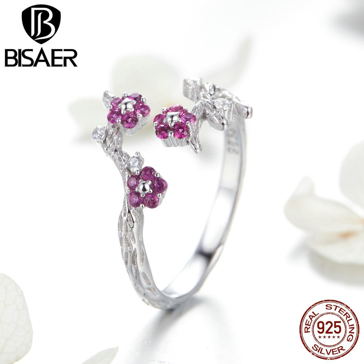 BISAER 925 Sterling Silver Vintage Wintersweet Flower Ring Adjustable Orchid Flower Women Rings Silver Jewelry EFR022