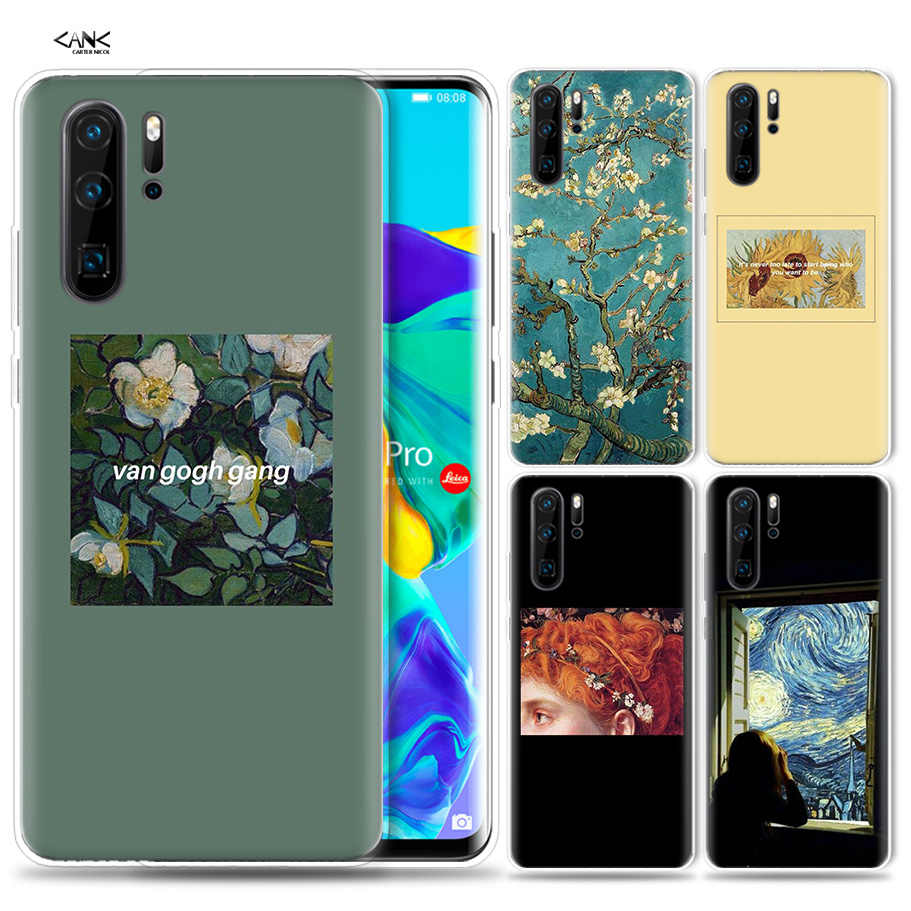Case for Huawei P30 P20 P10 P9 Mate 10 20 Lite Pro Mobile Cell Phone Bag P Smart Z 2019 Plus Van Gogh Oil Painting thin P8 P30Pr