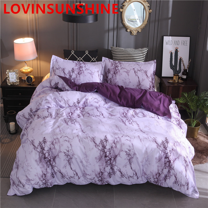 Image 4 - Printed Marble Bedding Set White Black Duvet Cover King Queen Size Quilt Cover Brief Bedclothes Comforter Cover 3Pcs-in Bedding Sets from Home & Garden