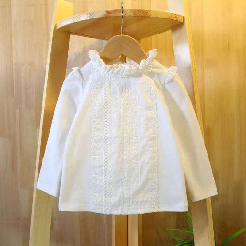 2018 Fall Spring Little Girls Shirts Cotton Lace White Long Sleeve Child T-Shirt Girl Kids Baby Toddler Tops And Blouses JW6100