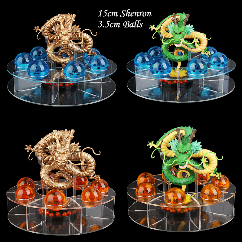15cm dragon ball z figura de ação shenron shenlong dragonball z figuras definir dragonball 7 pçs 3.5cm bolas de cristal + prateleira figurinhas dbz
