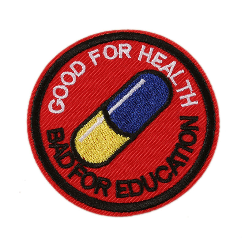 Japanese Akira Kaneda Good For Health Bad For Education Iron Sew On Patch Akira Pill Anime Cosplay Tetsuo Patch badge applique(China)