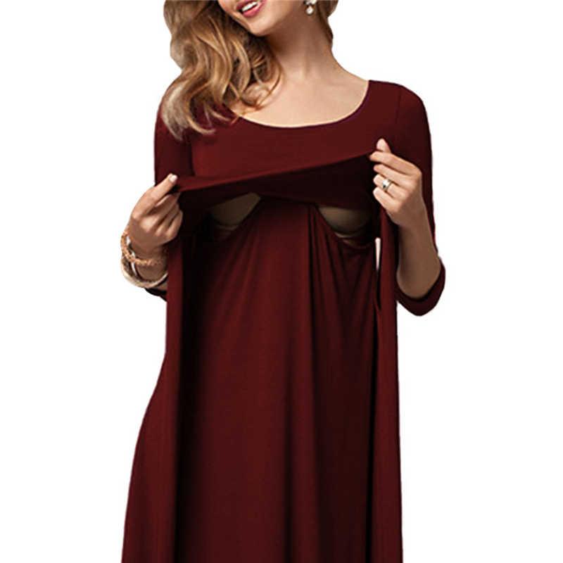 2018 модные платья для беременных по колено с круглым вырезом платье для беременных Брендовое однотонное весенне-осеннее платье для грудного вскармливания Размер S-2XL