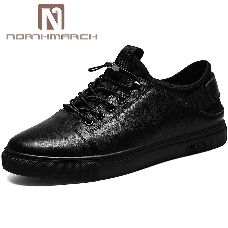NORTHMARCH Men's Genuine Leather Casual Shoes Classic Fashion Male Lace Up Flats Men Krasovki Flat Sneakers Men Masculino cirohuner leather casual men shoes male lace up flats black men krasovki flat heel sneakers tenis masculino comfortable shoes