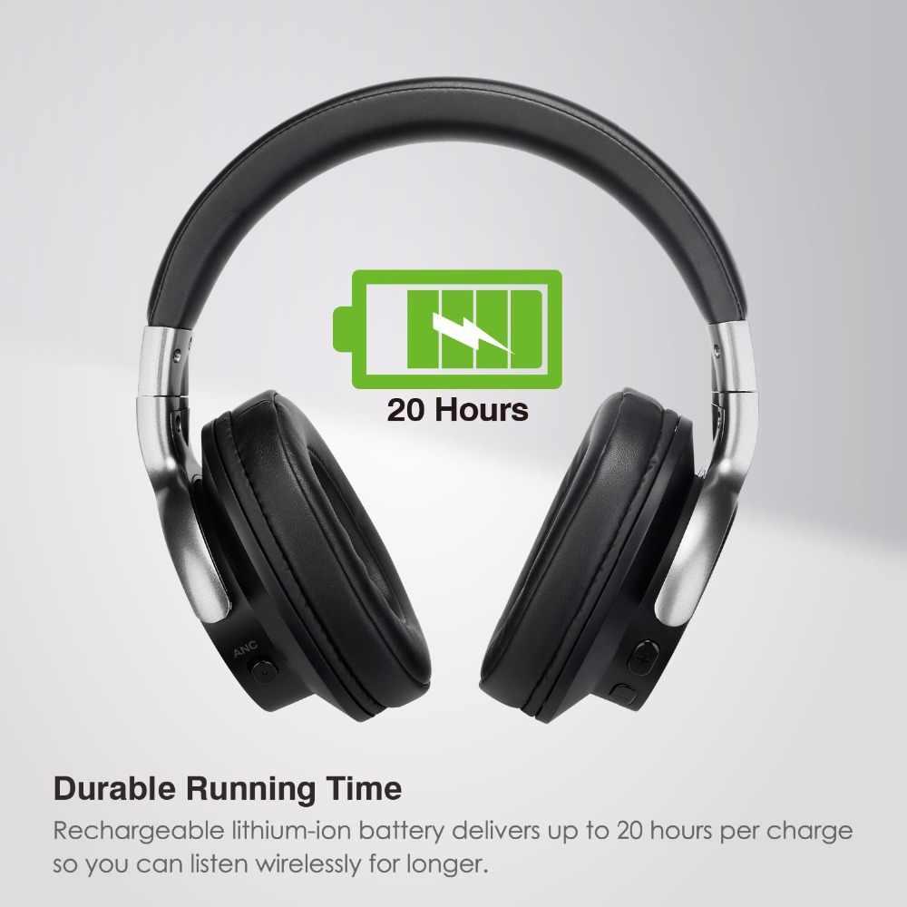 AUSDOM ANC8 aktywne słuchawki z redukcją szumów bezprzewodowe słuchawki z Bluetooth HiFi głęboki bas zestaw słuchawkowy Bluetooth 20H z futerał do przenoszenia