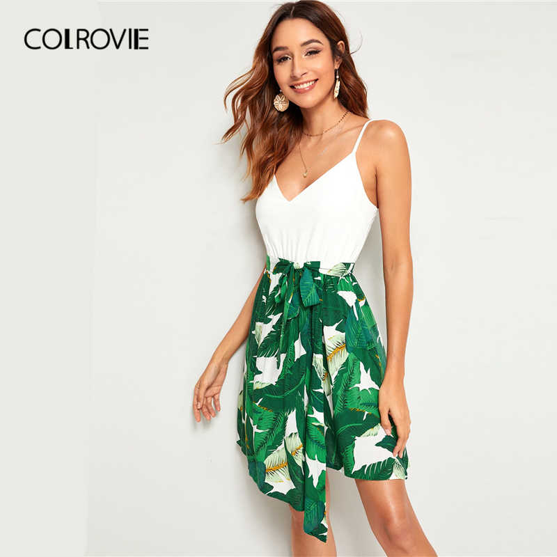 COLROVIE с тропическим принтом и поясом в стиле «Бохо Для женщин на бретельках сексуальное платье 2019 летние каникулы, отпуск без рукавов Мини-платья