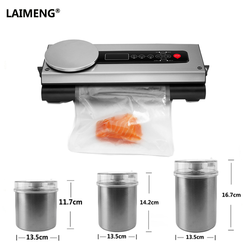 LAIMENG Electric Vacuum Sealer Packaging Machine Plus Food Containers Full Sets Vacuum Packer Including 1 Roll Bags greenco mini food storage containers condiment and sauce containers baby food storage and lunch boxes leak resistant 2 3 oz each round containers set of 20
