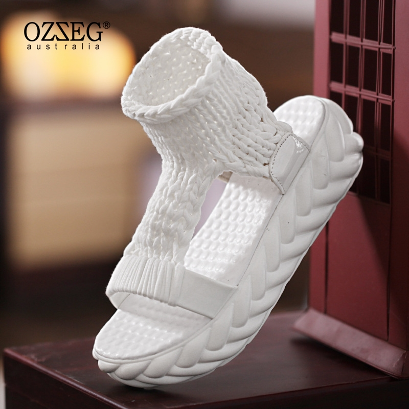 Knitted Sandals Women Gladiator Platform Fashion Ladies Shoes Solid Color Casual Summer Flat 2018 Open Toe Knitting Flip Flops fashion summer gladiator women flat fashion shoes casual occasions comfortable sandals round toe casual peep toe flat shoes s