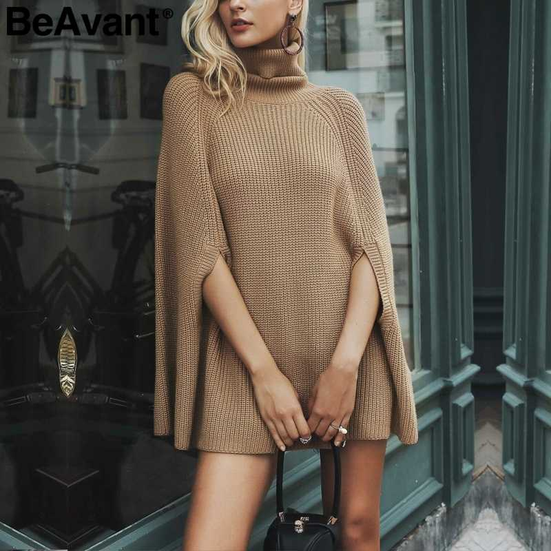BeAvant Turtleneck oversize knitted sweaters pullover 2018 Casual loose autumn sweaters Women black winter jumper female poncho
